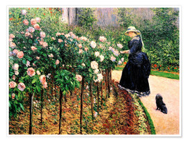 Premium poster  Roses in the garden - Gustave Caillebotte