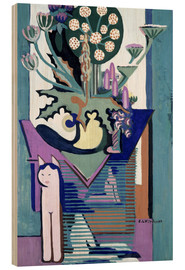 Wood print  Meadow Flower with cat - Ernst Ludwig Kirchner