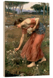 Wood print  Narcissus - John William Waterhouse