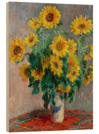 Wood print  Sunflower bouquet - Claude Monet
