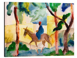 Aluminium print  Man Riding on a Donkey - August Macke