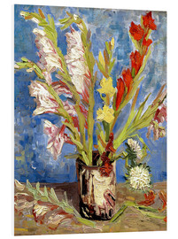 Foam board print  Vase with gladioli and China asters - Vincent van Gogh
