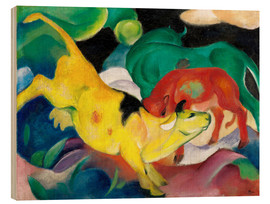 Wood print  Cows - yellow, red, green - Franz Marc