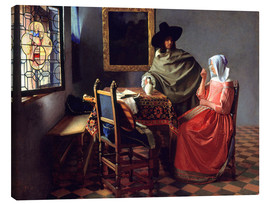 Canvas print  Lord and lady at the wine - Jan Vermeer