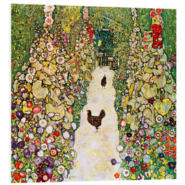 Foam board print  Garden Path with Chickens - Gustav Klimt