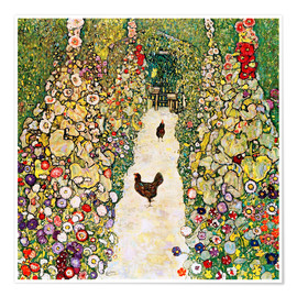Premium poster  Garden Path with Chickens - Gustav Klimt