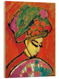 Wood print  Young Girl in a Flowered Hat - Alexej von Jawlensky