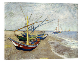 Acrylic print  Fishing boats on the beach, Saintes-Marie-de-la-Mer - Vincent van Gogh