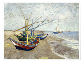 Premium poster  Fishing boats on the beach, Saintes-Marie-de-la-Mer - Vincent van Gogh