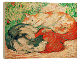 Wood print  Cats on red cloth - Franz Marc