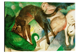 Aluminium print  Cats Playing (Painting of Cats) - Franz Marc