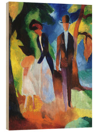 Wood print  People at the blue lake - August Macke