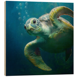 Wood print  Bubbles, the cute sea turtle - Photoplace Creative
