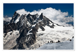Premium poster  Mont Blanc Massif and mountaineer, France - Frauke Scholz