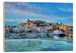 Wood print  View of the old port of Ibiza - HADYPHOTO