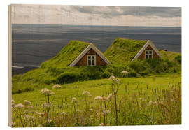 Wood print  Traditional Houses in the Skaftafell National Park, Iceland - Markus Ulrich