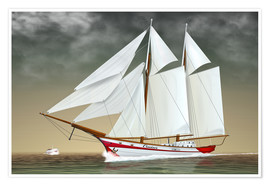 Premium poster Sailing boat, two-masted sailing boat
