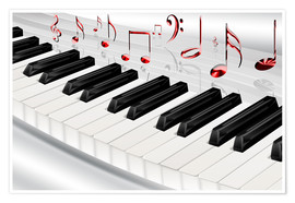 Premium poster  Piano keyboard with notes - Kalle60