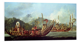 Foam board print  Tahitian war boats. from James Cook's overview of the fleets - William Hodges