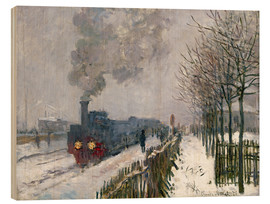 Wood print  Train in the snow (The Locomotive) - Claude Monet
