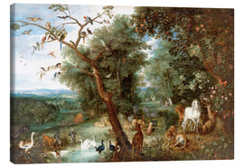 Canvas  The Garden of Eden with Adam and Eve - Jan Brueghel d.Ä.