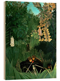 Wood print  The monkeys - Henri Rousseau