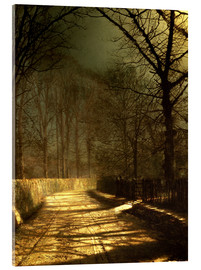 Acrylic glass  A Moonlit Lane, with two lovers by a gate - John Atkinson Grimshaw