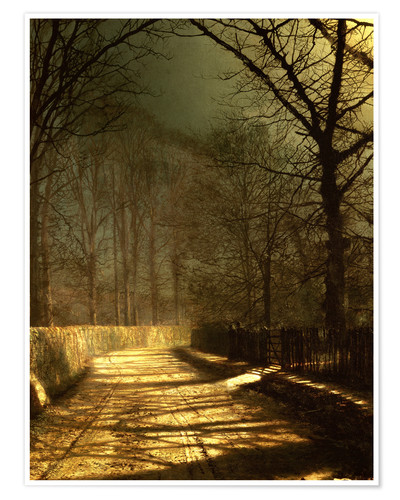 Premium poster A Moonlit Lane, with two lovers by a gate