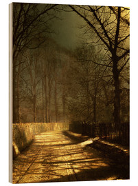Wood print  A Moonlit Lane, with two lovers by a gate - John Atkinson Grimshaw