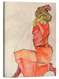 Canvas print  Kneeling woman in red dress - Egon Schiele