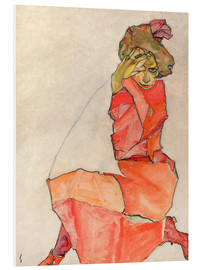 Foam board print  Kneeling woman in red dress - Egon Schiele