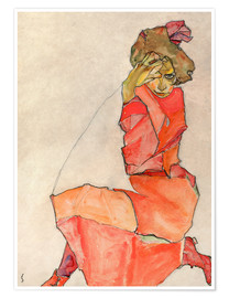 Premium poster  Kneeling woman in red dress - Egon Schiele