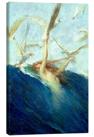 Canvas print  A Mermaid Being Mobbed by Seagulls - Giovanni Segantini
