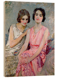Wood print  Two Young Women Seated - William Henry Margetson