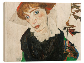 Wood print  Portrait of Wally Neuzil - Egon Schiele