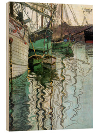 Wood print  The port at Trieste - Egon Schiele