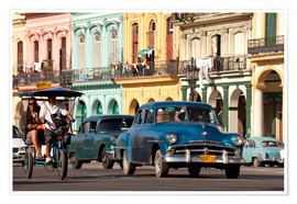 Premium poster  classic us cars in havanna, cuba - Peter Schickert