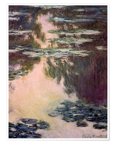 Premium poster Waterlilies with Weeping Willows