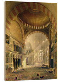 Wood  Haghia Sophia, plate 24: interior of the central dome with lowered chandeliers, engraved by Louis Ha - Gaspard Fossati