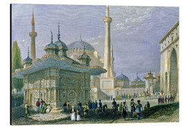 Aluminium print  Fountain and Square of St. Sophia, Istanbul - William Henry Bartlett