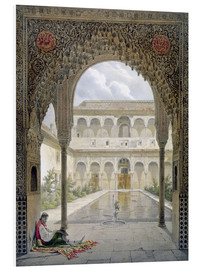 Foam board print  The courtyard of Alberca in the Alhambra, Granada, 1853 - Léon Auguste Asselineau