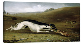 Canvas  Hare Coursing in a Landscape, 1870 - John Fitz Marshall