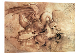 Acrylic print  Fight between a Dragon and a Lion - Leonardo da Vinci