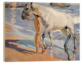 Wood print  Washing the Horse - Joaquín Sorolla y Bastida