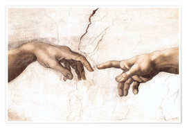 Premium poster The Creation of Adam (detail of hands)