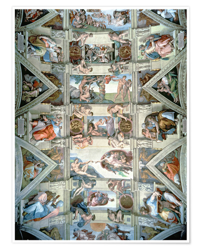 Premium poster Sistine Chapel ceiling and lunettes
