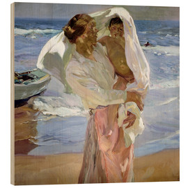Wood print  Just out of the sea - Joaquín Sorolla y Bastida