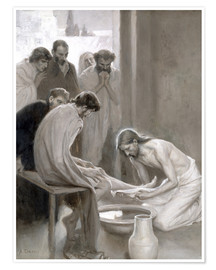 Premium poster  Jesus washes the feet of his disciples - Albert Edelfelt