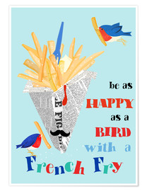 Premium poster Bird with a french fry