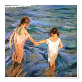 Premium poster  Children in the Sea - Joaquin Sorolla y Bastida